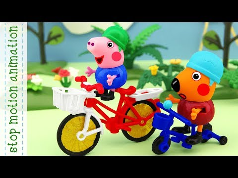 George's new bike. Peppa Pig toys stop motion animation