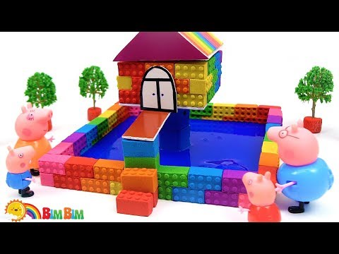 How To Make A Swimming Pool Party For Peppa Pig Toy And Friends - Kinetic Sand Slime