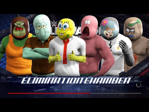 WWE 2K17 Wtf Spongebob vs Patrick vs Squidward vs Sandy vs Bubble Bas vs Reg
